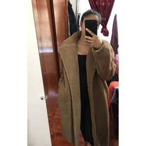 Missguided Camel Teddy Coat